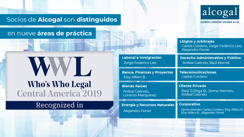 Alcogal partners are distinguished in nine practice areas