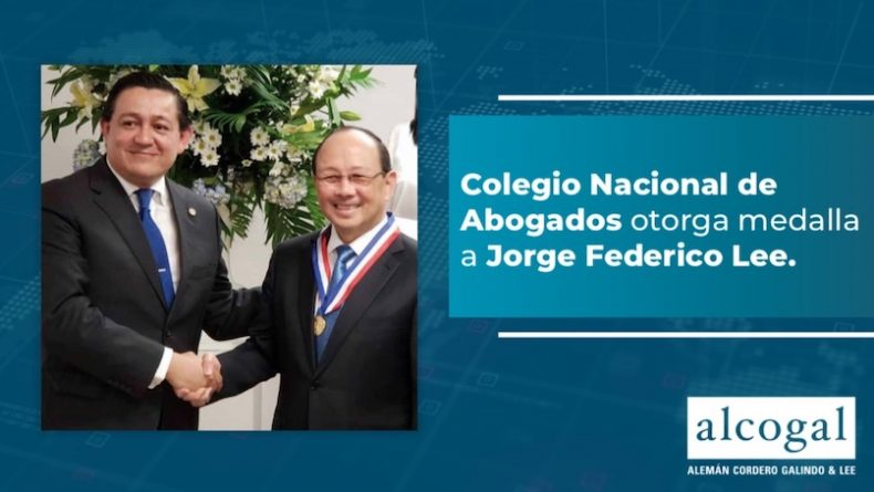 The National Bar Association of Panama awarded Jorge Federico Lee with the Ricardo J. Alfaro medal