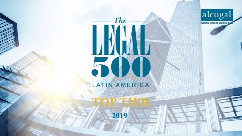 Alcogal is recommended as a TOP-TIER FIRM for 2019 by Legal 500