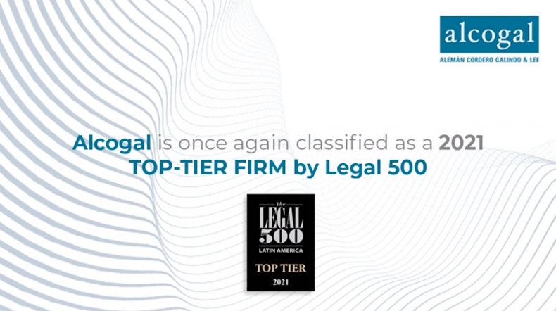 Alcogal is classified again as a 2021 TOP-TIER FIRM by Legal 500