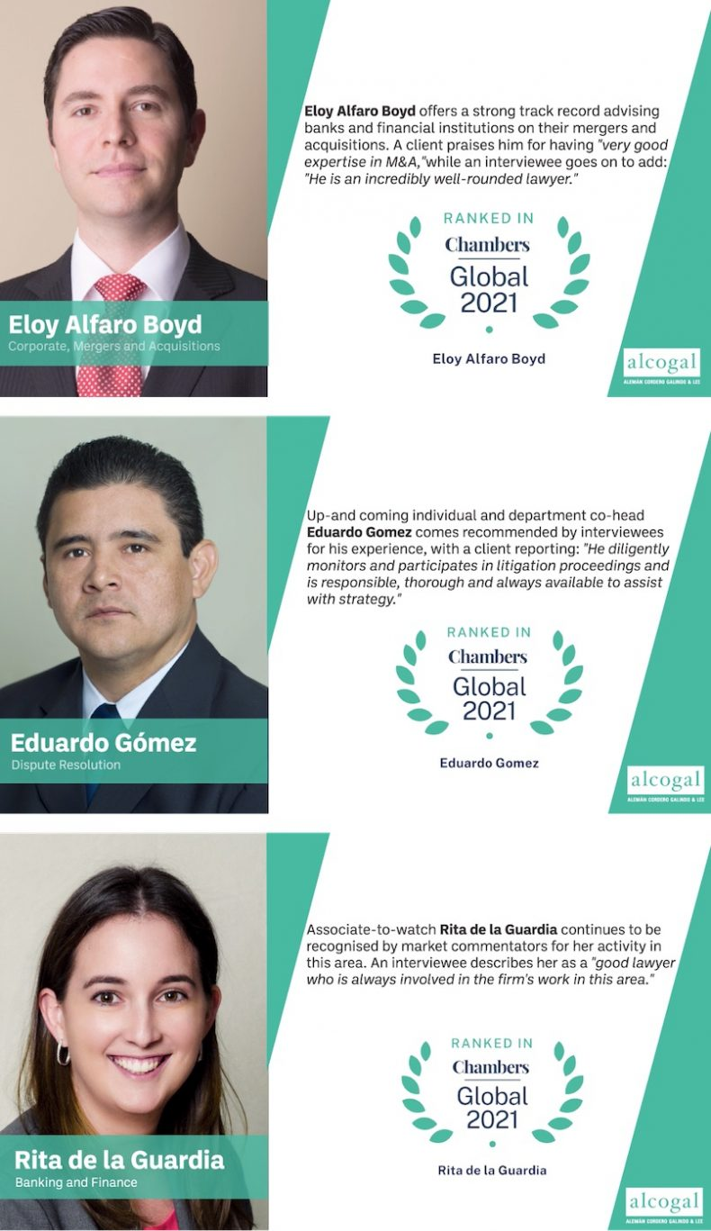 Chambers Global 2021 highlighted the individual work of Alcogal´s team