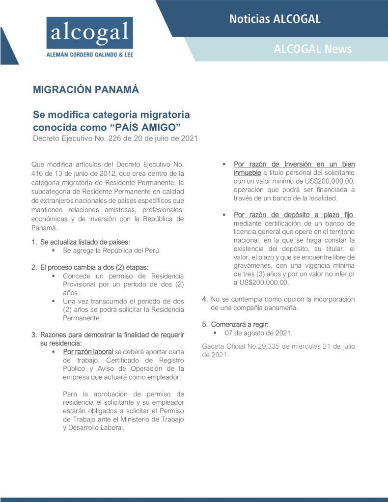 """Nuevos cambios a categoría migratoria conocida como """"PAÍS AMIGO""""."""