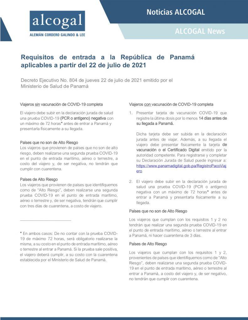 Nuevos requisitos de entrada a la República de Panamá aplicables desde el 22 de julio de 2021